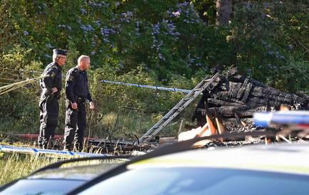 Huset brann ner till grunden. Foto: P-O Sännås
