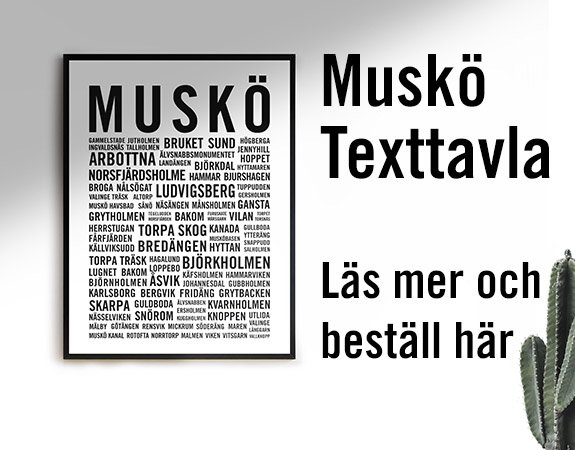 Annons - Muskö Texttavla Ortnamn